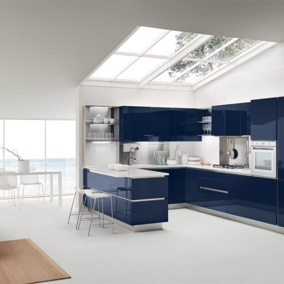 Cucina OYSTER color blu lucido